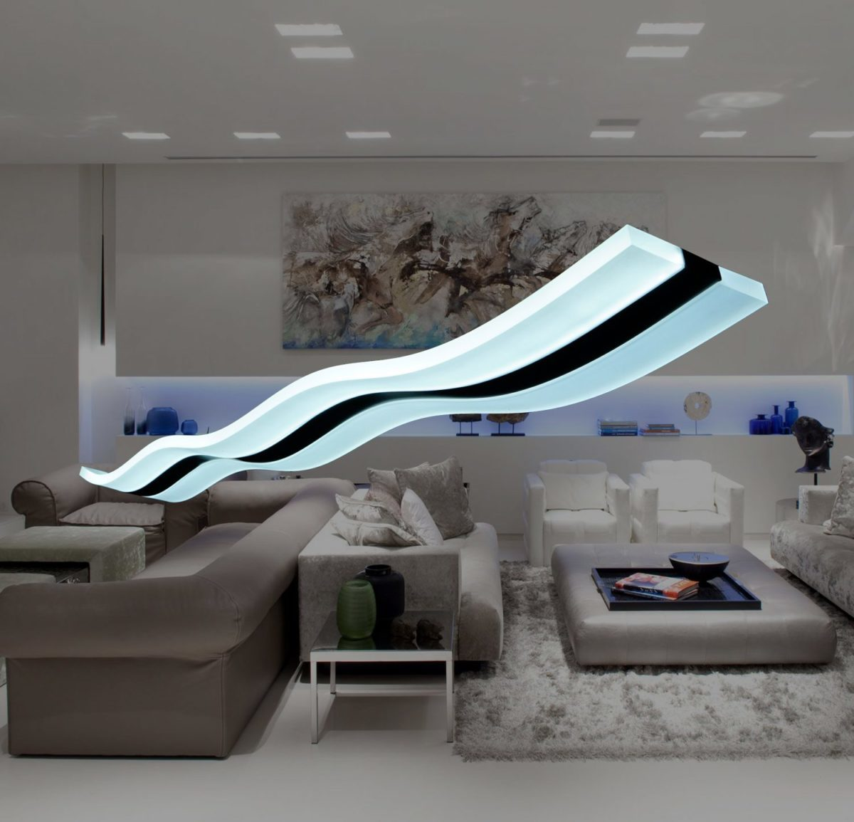 Modern Light Wave LED Pendant Fixture Ceiling Lamp