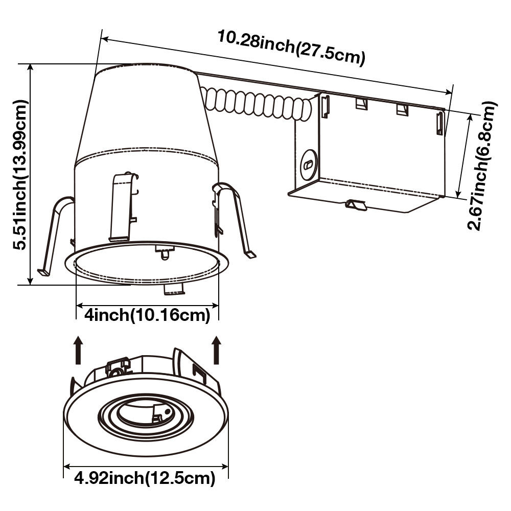 4 u2033 inch recessed downlight kit
